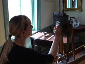 Saskia painting at the Peabody Historical Society, Peabody, MA 2010