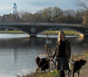 Saskia Painting Harvard Bridge. Boston, MA 2012