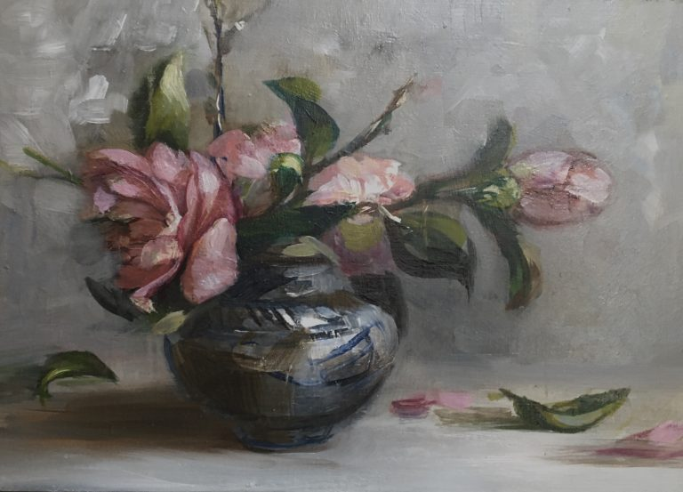 Winter Garden I: Sasanqua in Chinese Pot